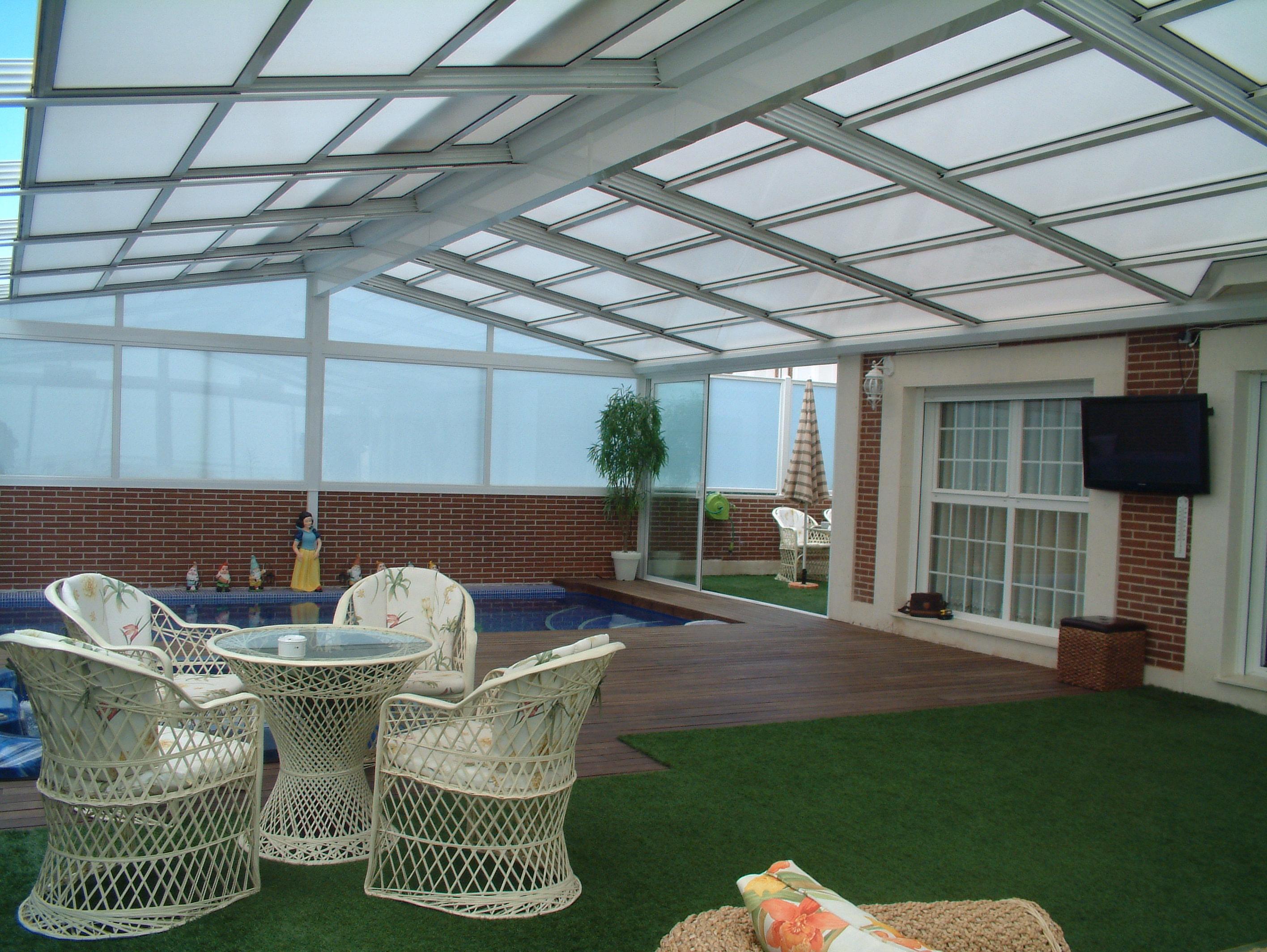 Fraimar aluminios s l techos cortinas de cristal y for Techos de tejas para patios exteriores